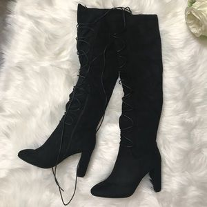 Shoes - Over the Knee black wrap tie up front boots